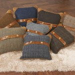 Belt Button Cushions Assortment Harris Tweed Brown Cerato Trim